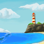 Lighthouse and Beach by ThePsychoSheep