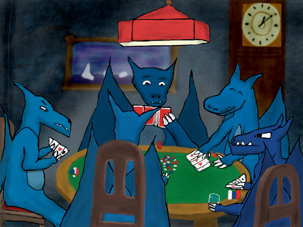 Bahamuts Playing Poker