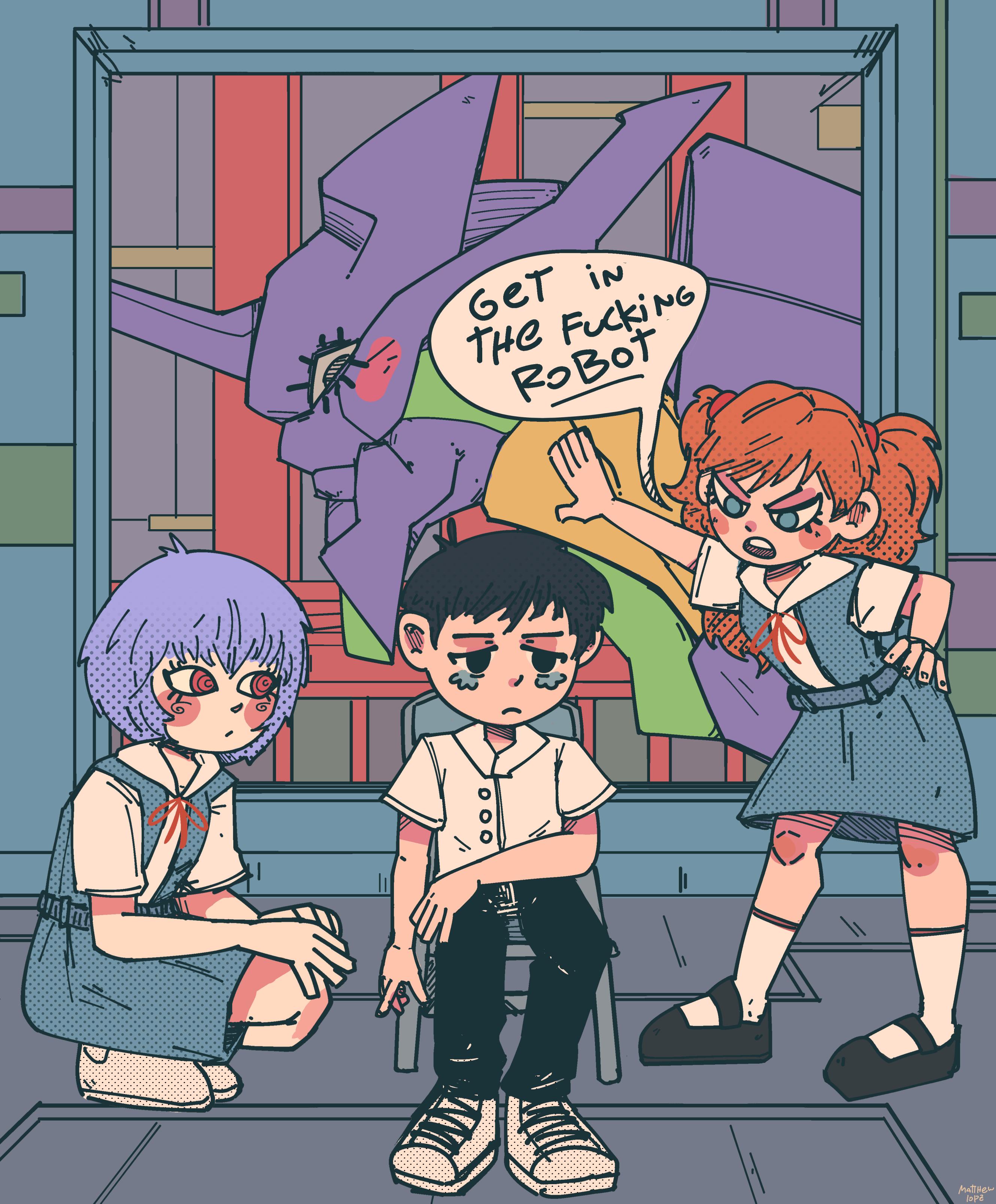 Yo Shinji get in the Robot!