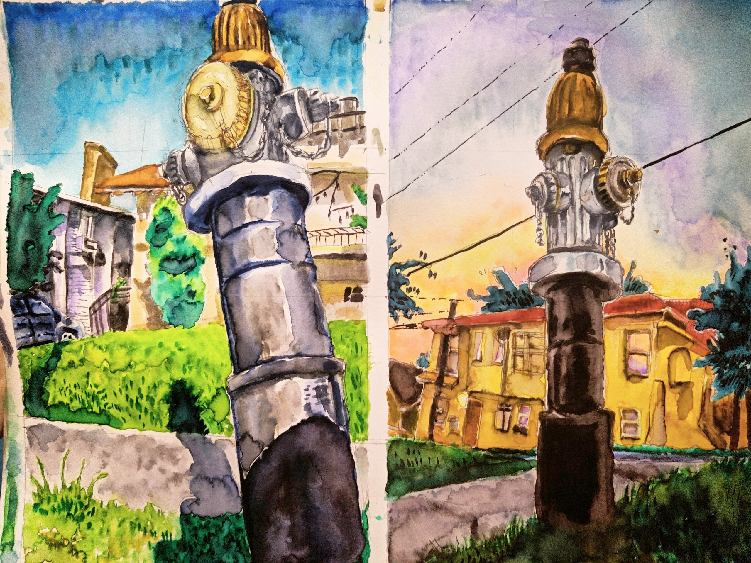 Ink Wash Fire Hydrant