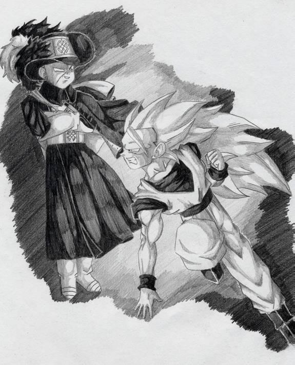 Goku fighting Frieza