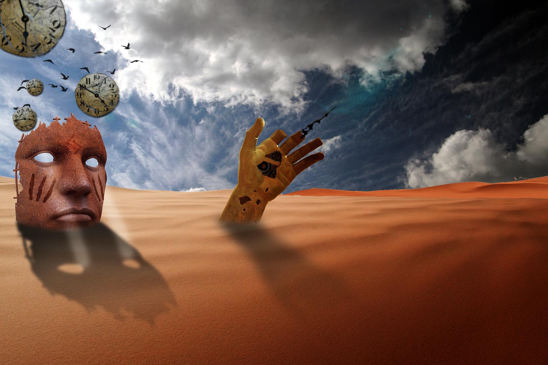 Bronze face in the desert