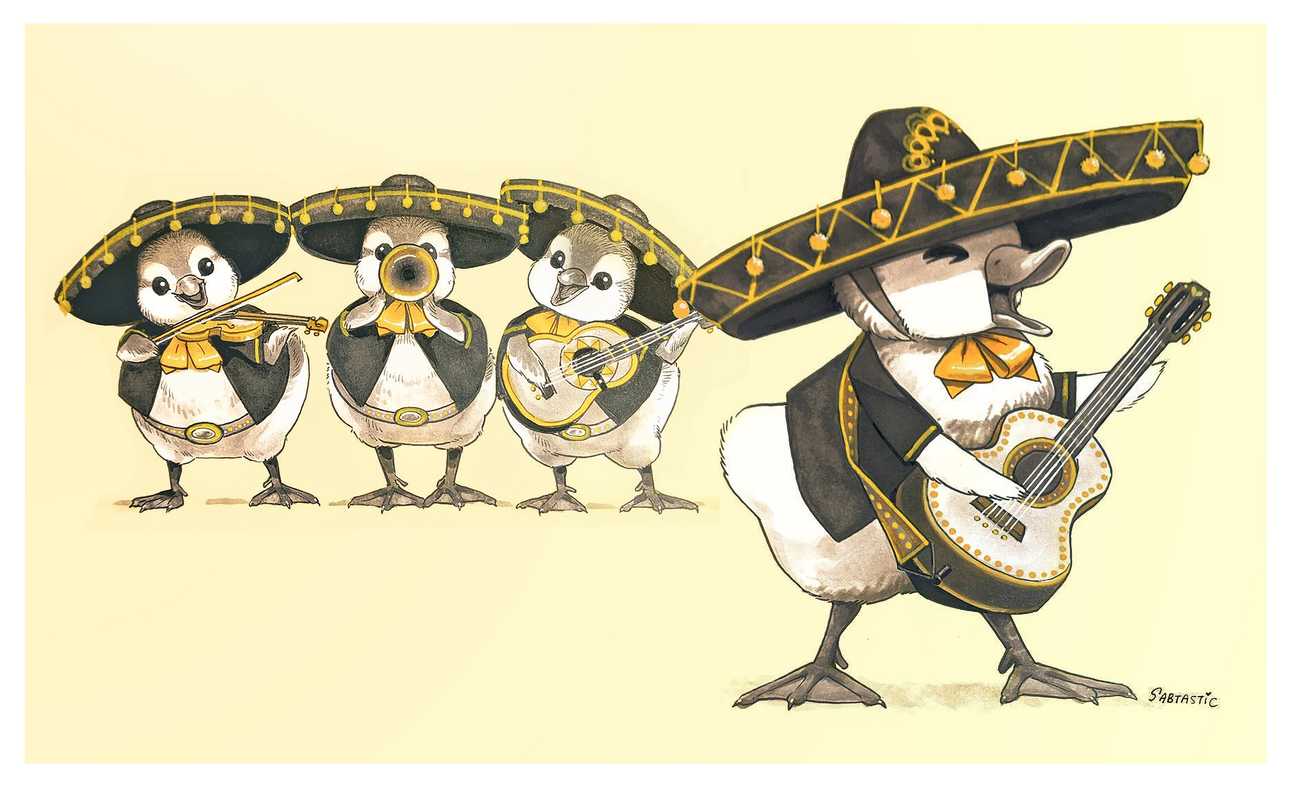 Inktober Day 2 and 3: Mariachi
