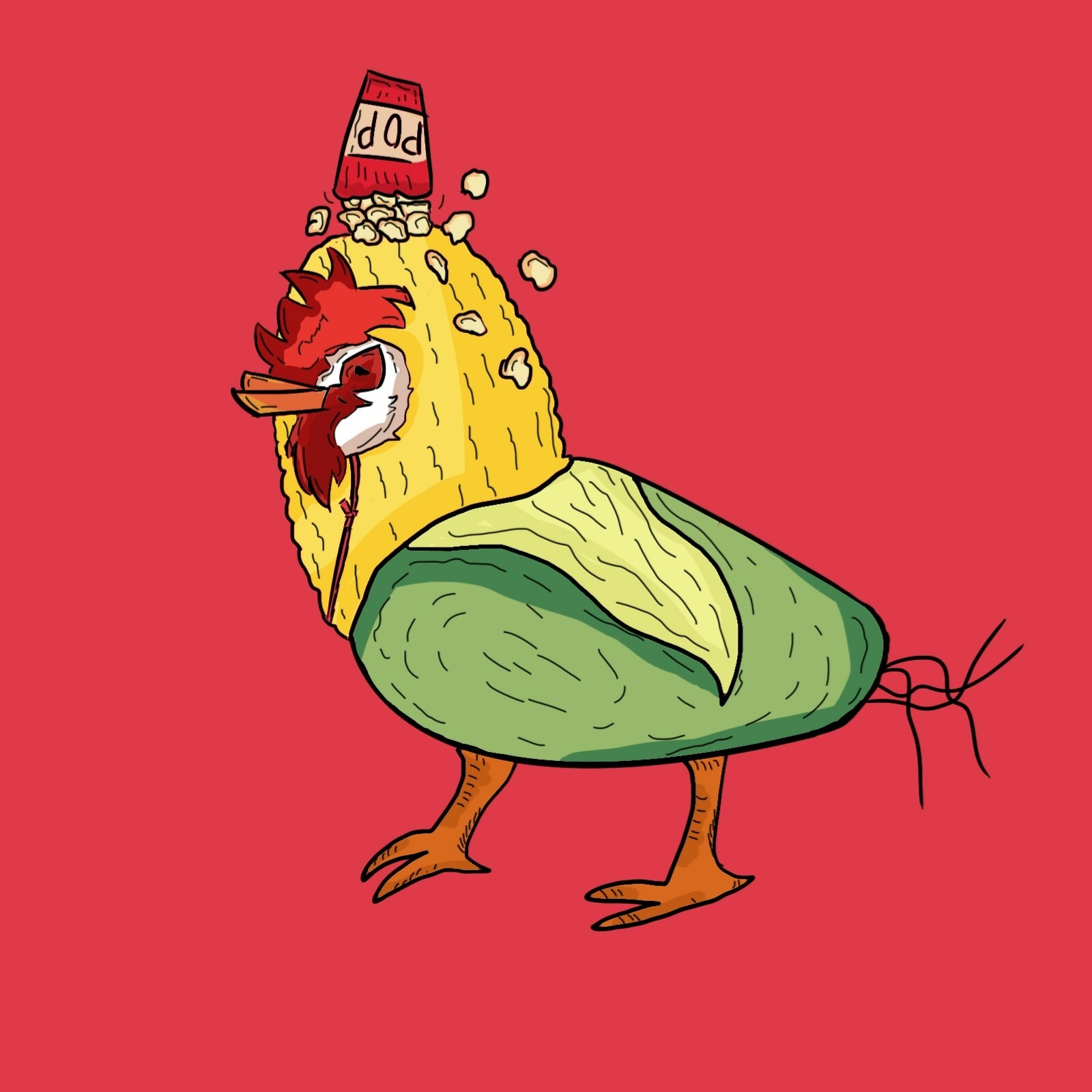 Chicken anddd corn costume i think that's it