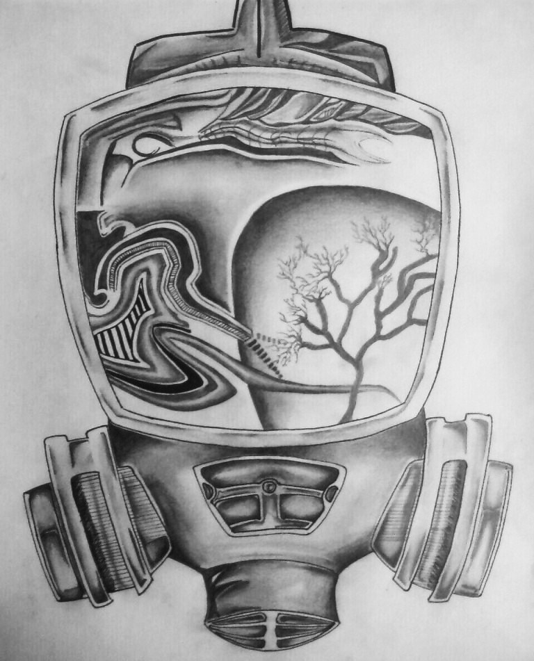 abstract gas mask