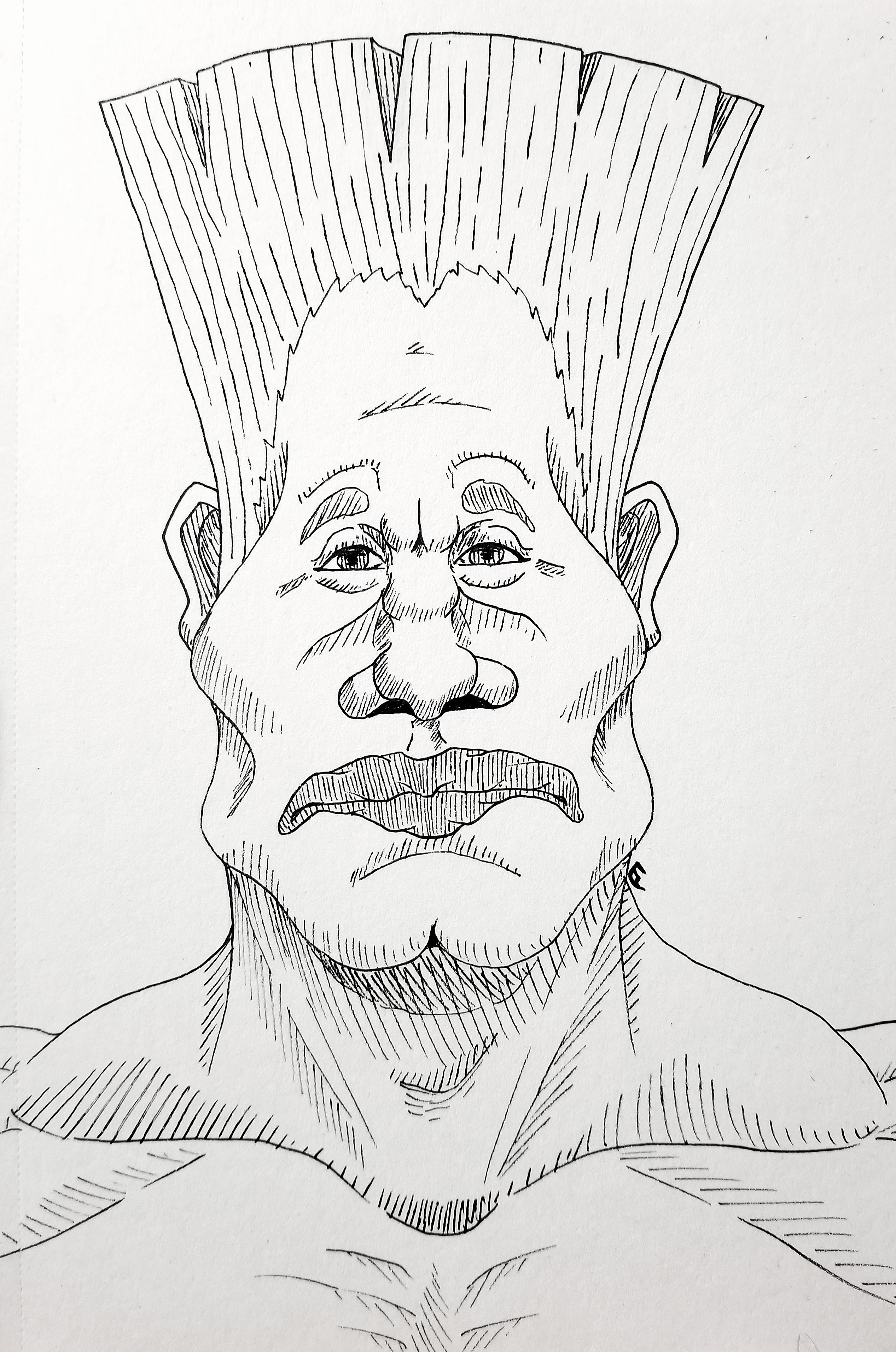 Inktober Day 12: Somber Dry-lipped Man
