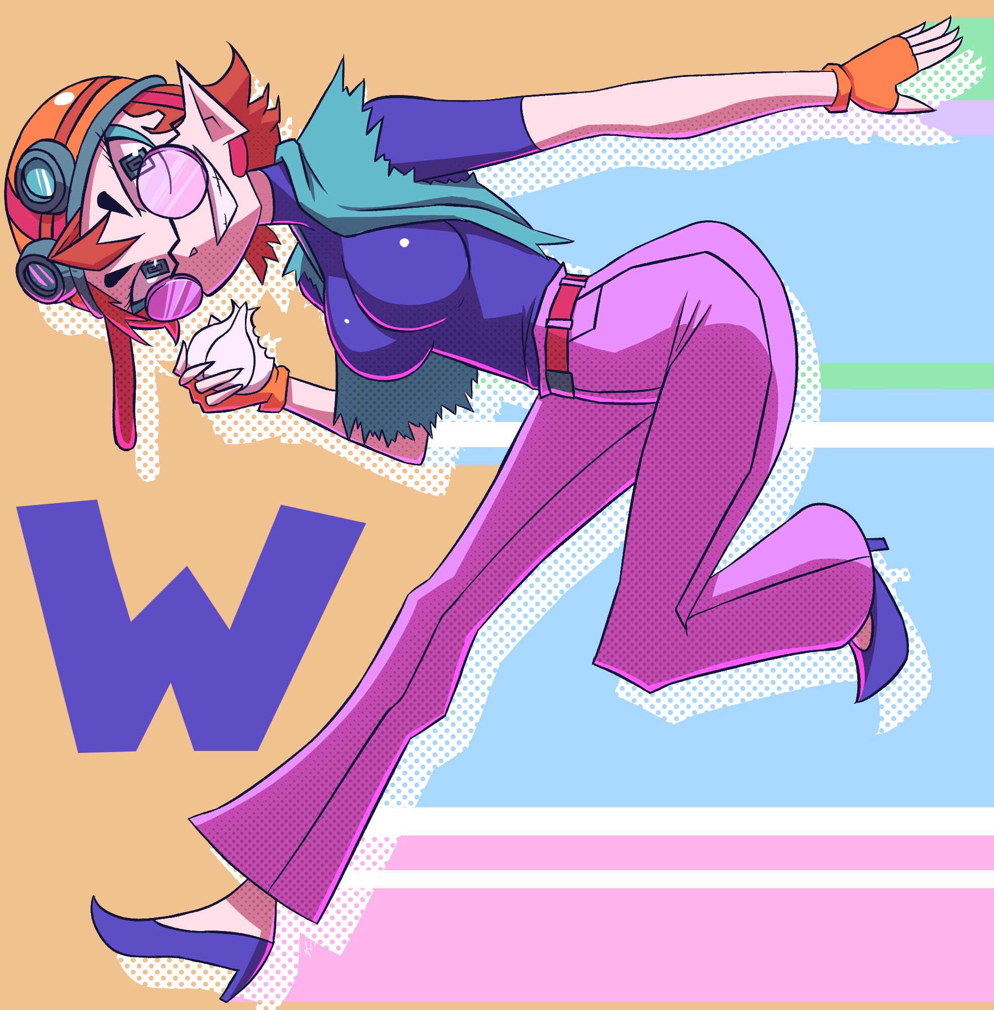 """Inktober day 14 - Wario and Waifu start with """"Wa"""""""