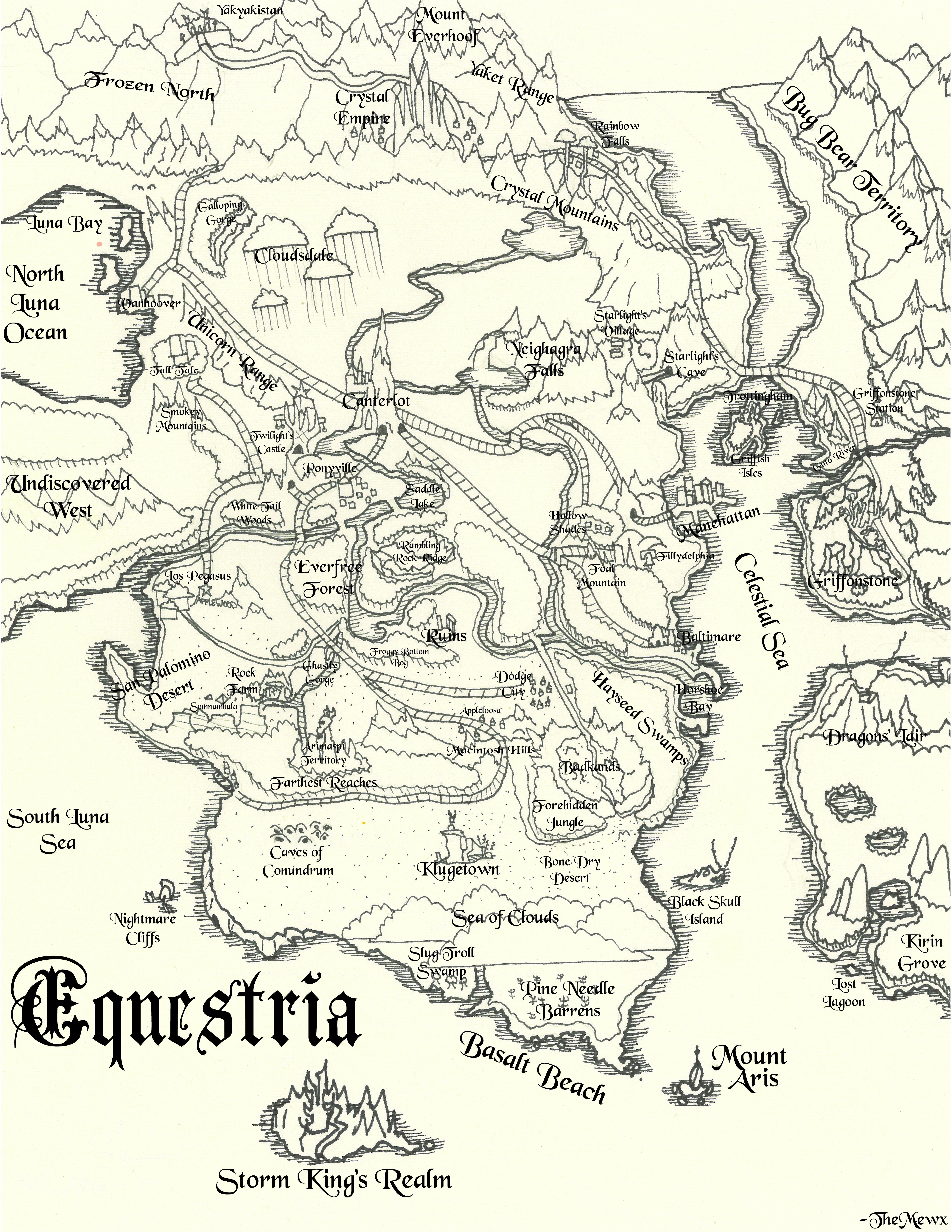Map of Equestria Medieval Styled (2018)