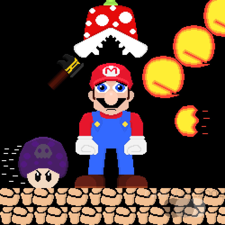 Pixel Art Mario And Piranha Plant Super Mario Bros 2 The