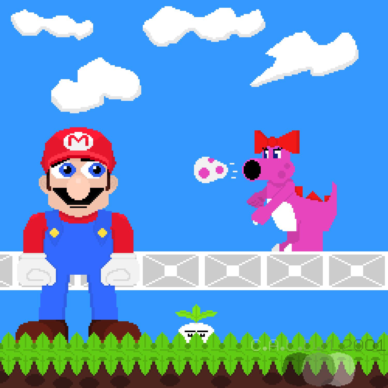 Pixel Art Mario And Birdo Super Mario Bros 2 By