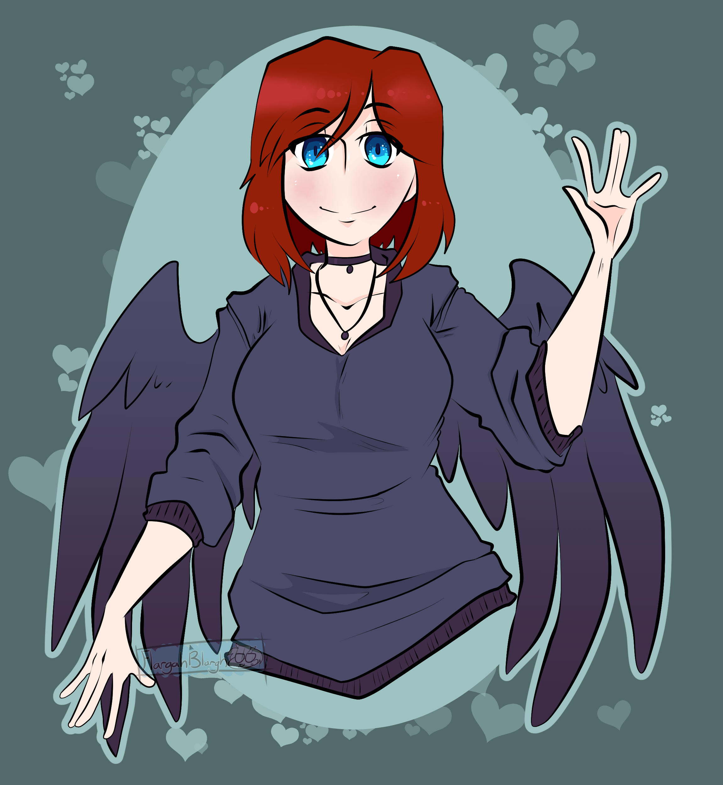 Commission-Red Hair, Purple Wings