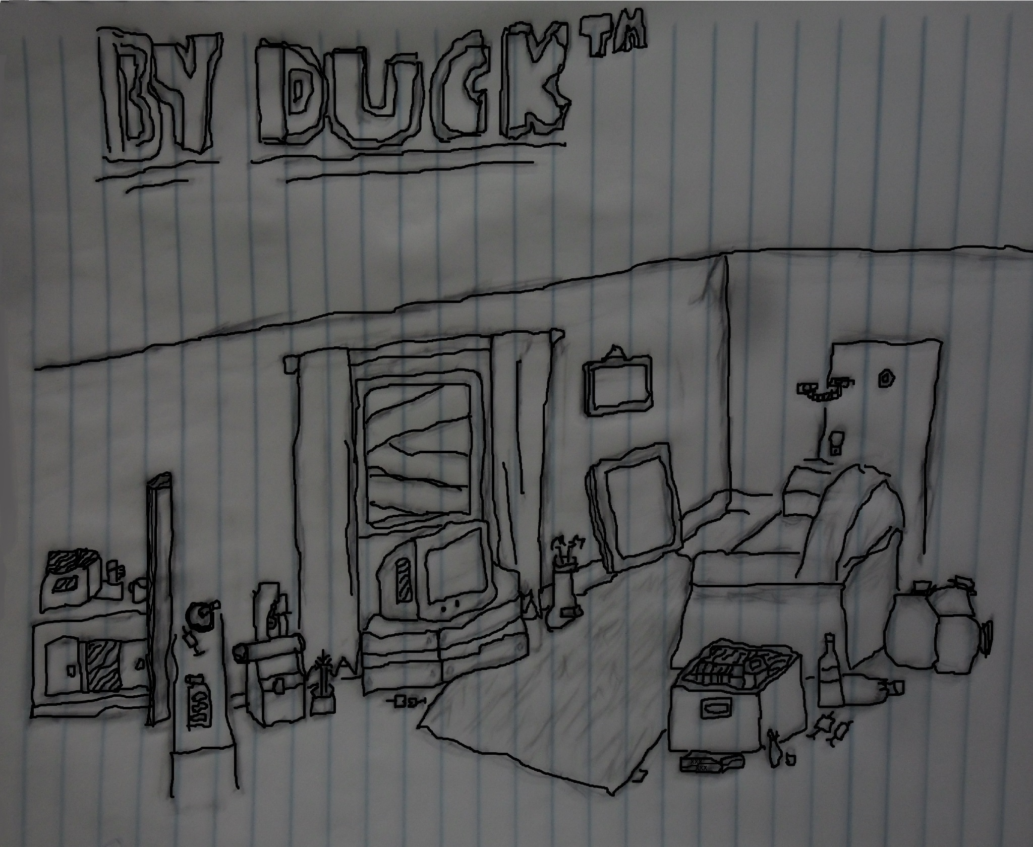 Desenho Da Minha Humilde Residencia Em Preto E Branco By