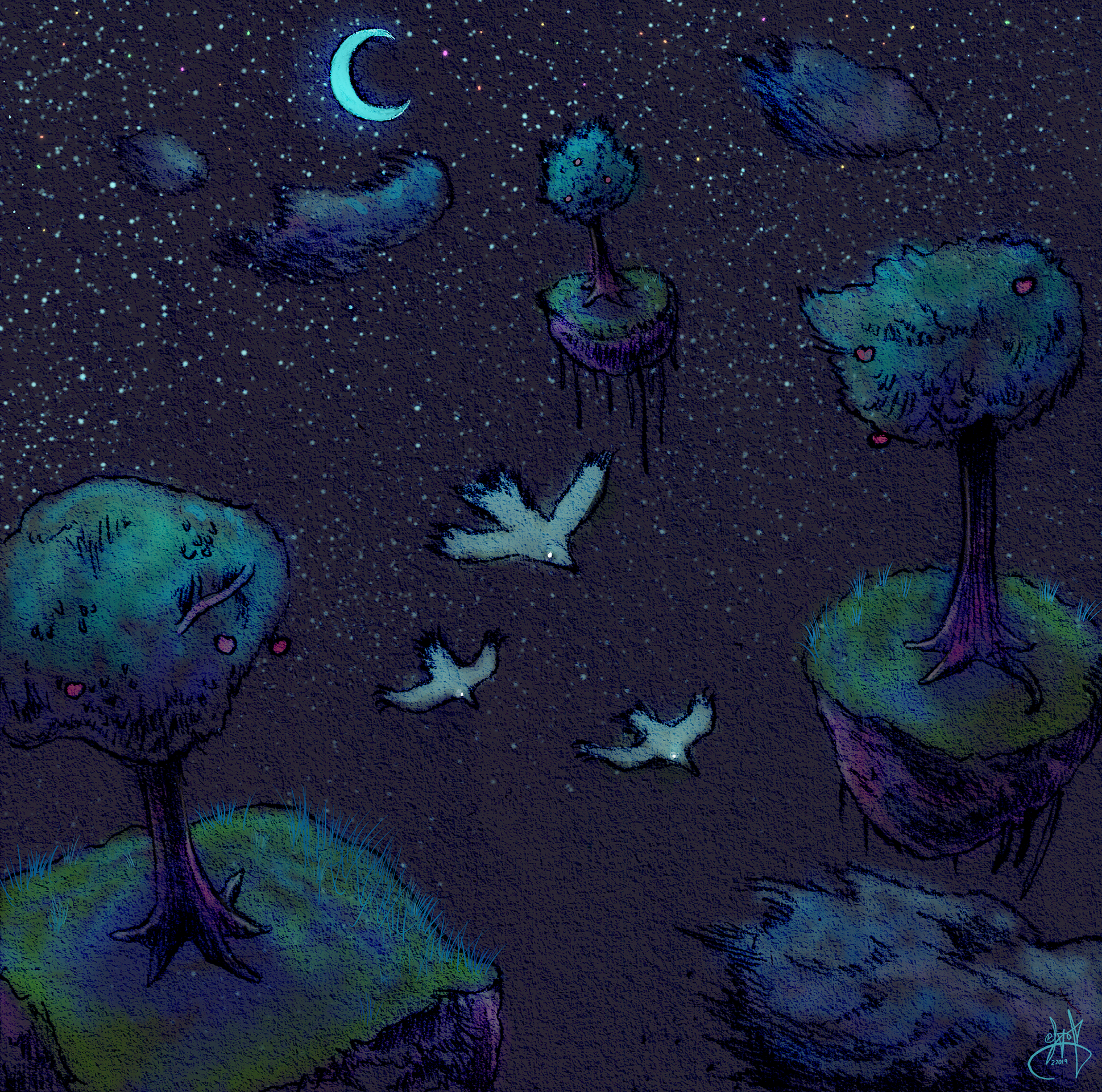 Floating trees on islands