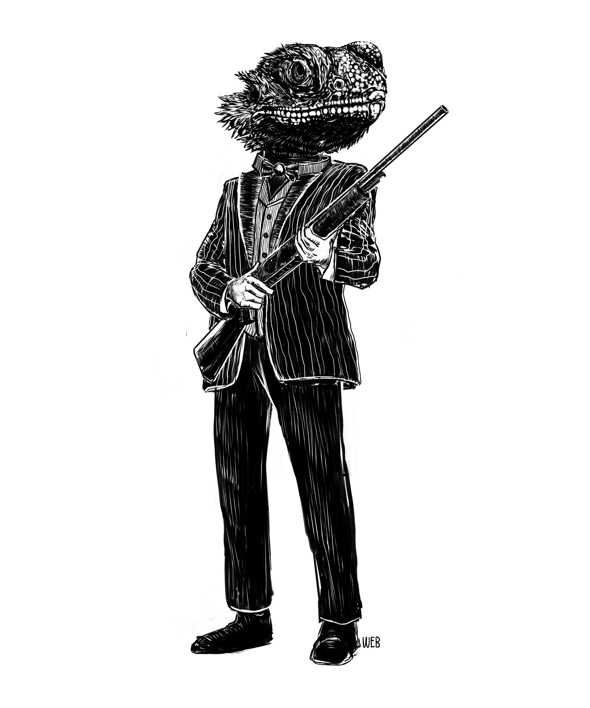 Lizard with a gun
