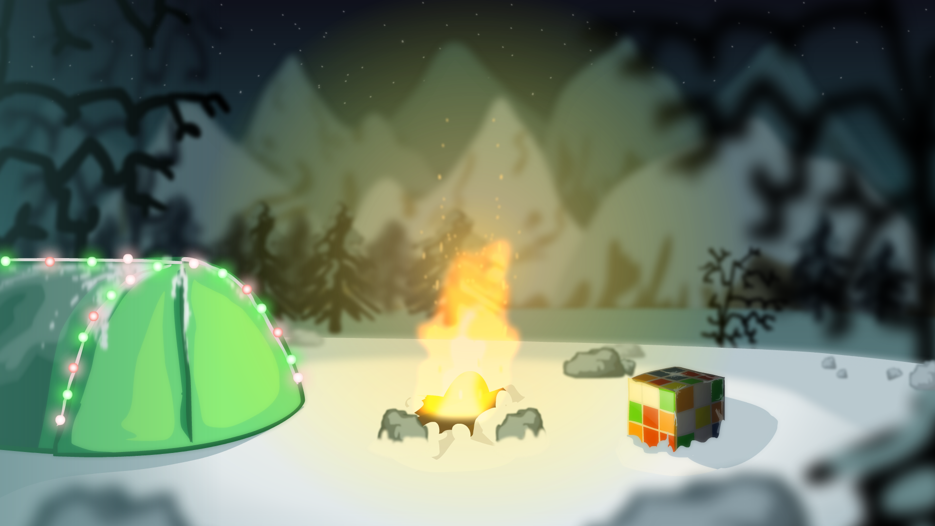Cube Chilling by Christmas Campfire
