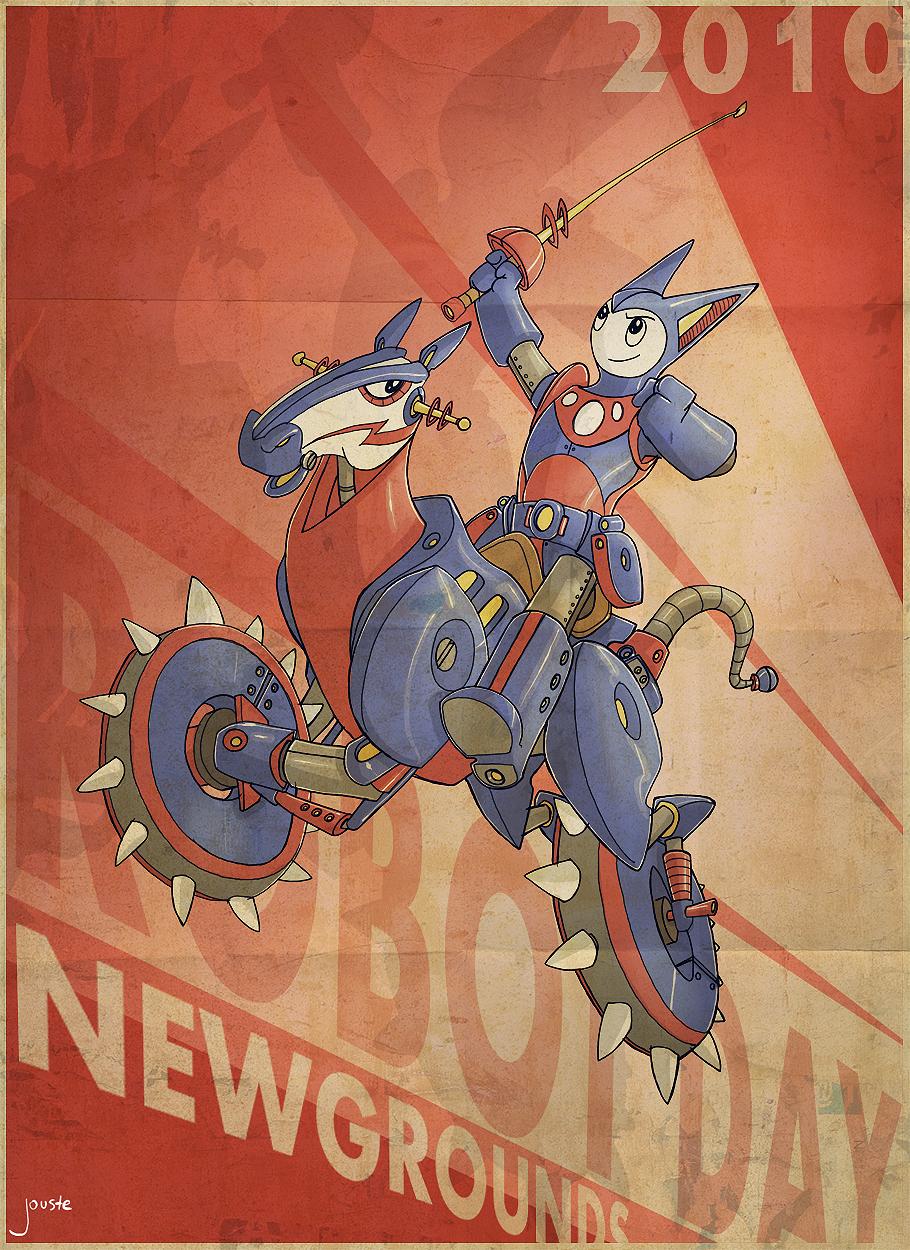 retro robot day poster