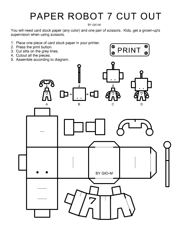 paper robot cout out