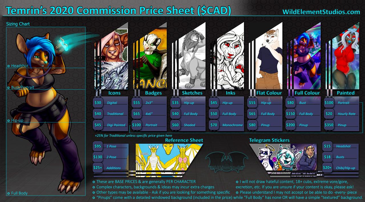 2020 Commission Price List