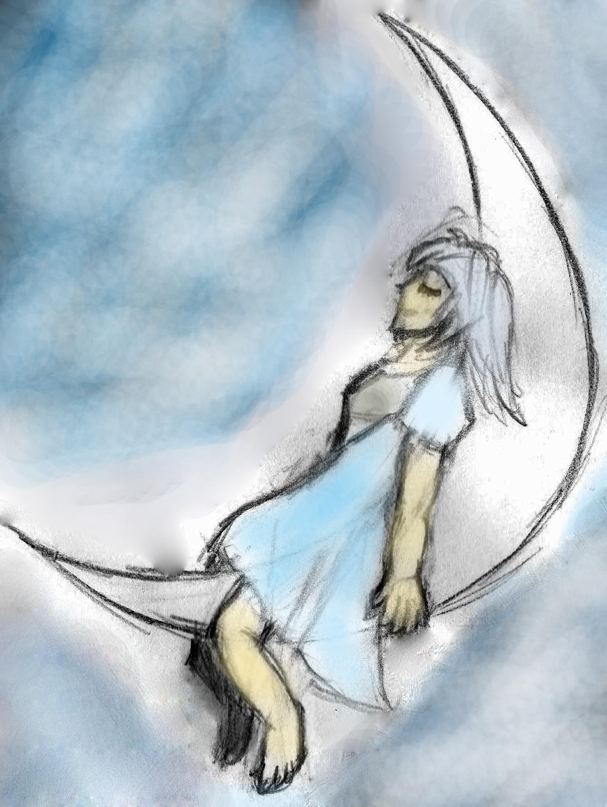 Girl at the moon