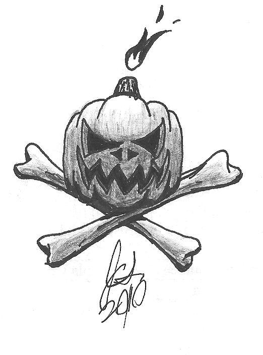 Pumpkin Crossbones Tattoo