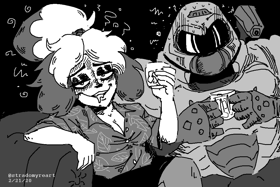 Isabelle And Doomguy Share A Drink By Stradomyre On Newgrounds