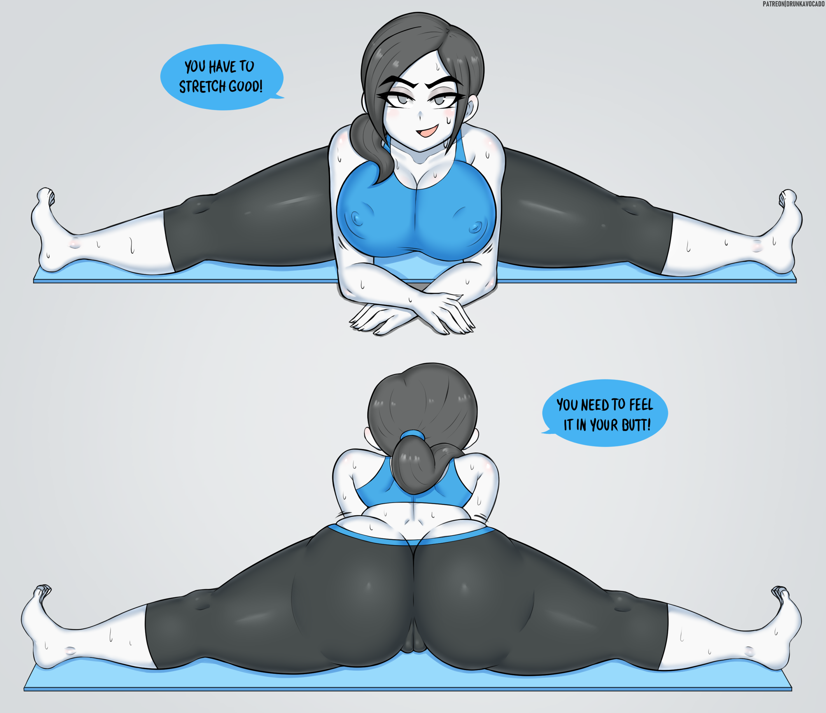 Wii Fit Trainer stretching lesson