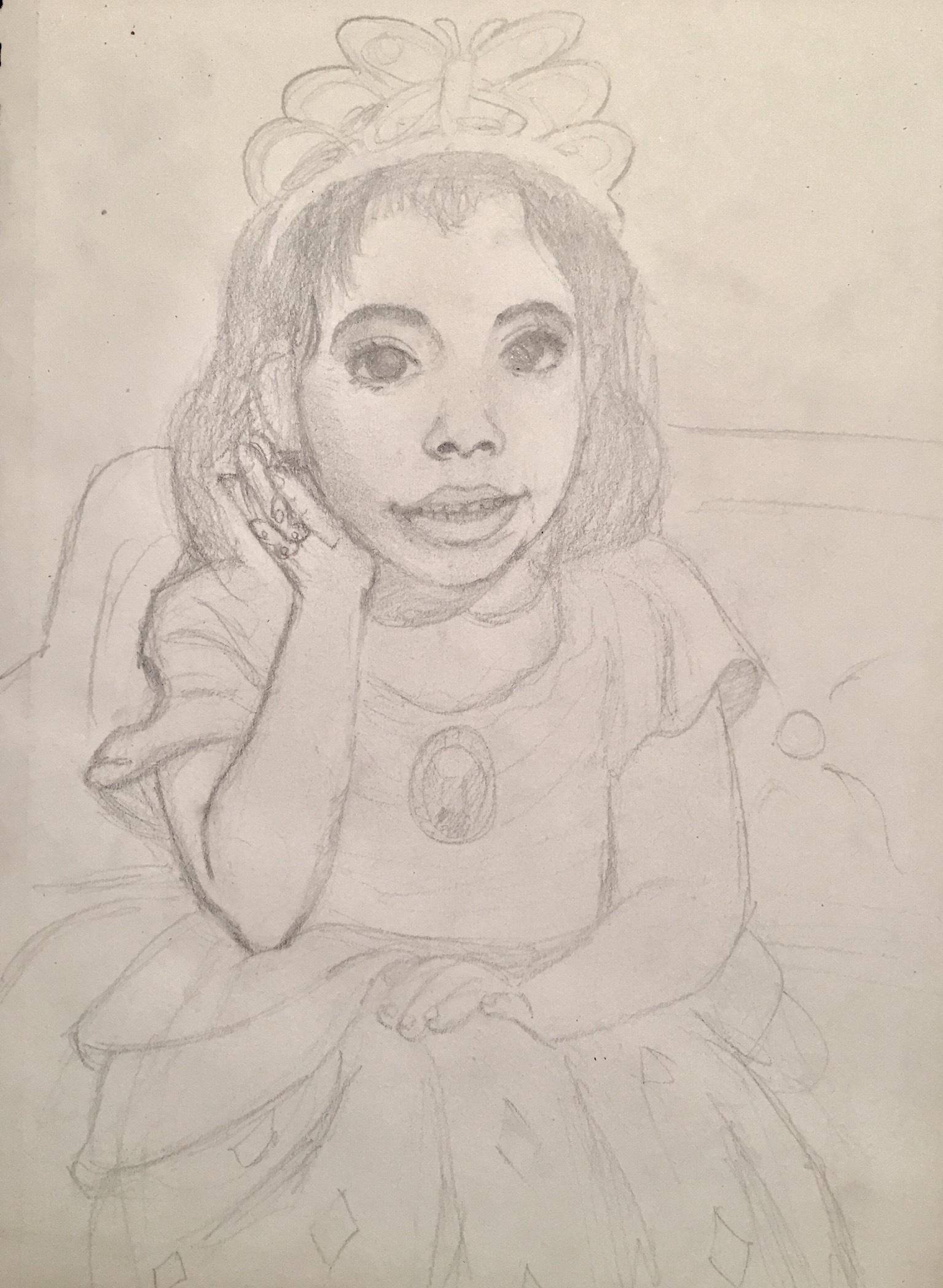 WIP Portrait of my sister in princess costume
