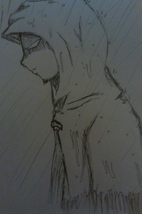 Hooded Hero in the rain