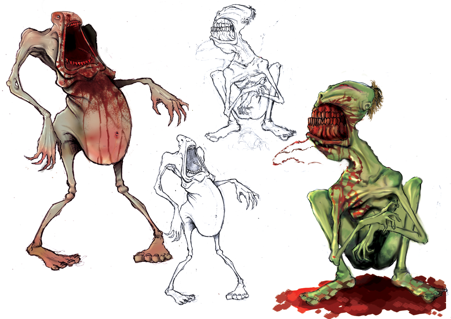Blood mouth zombie concept