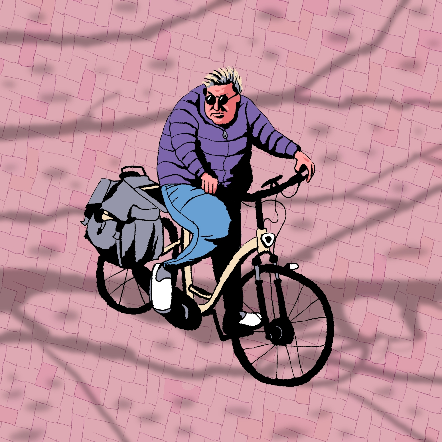 purple cycling lady