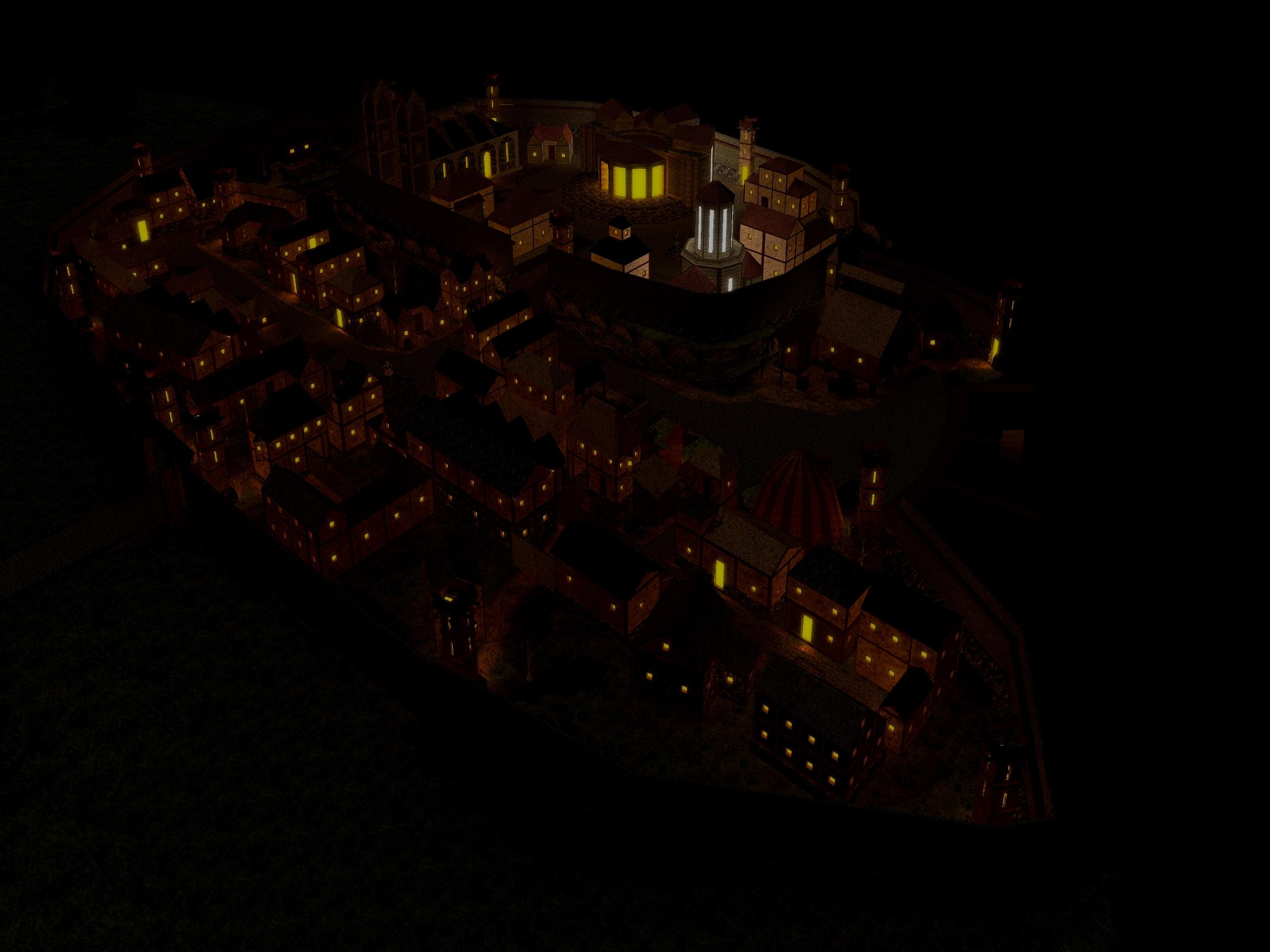 Medieval City at Night