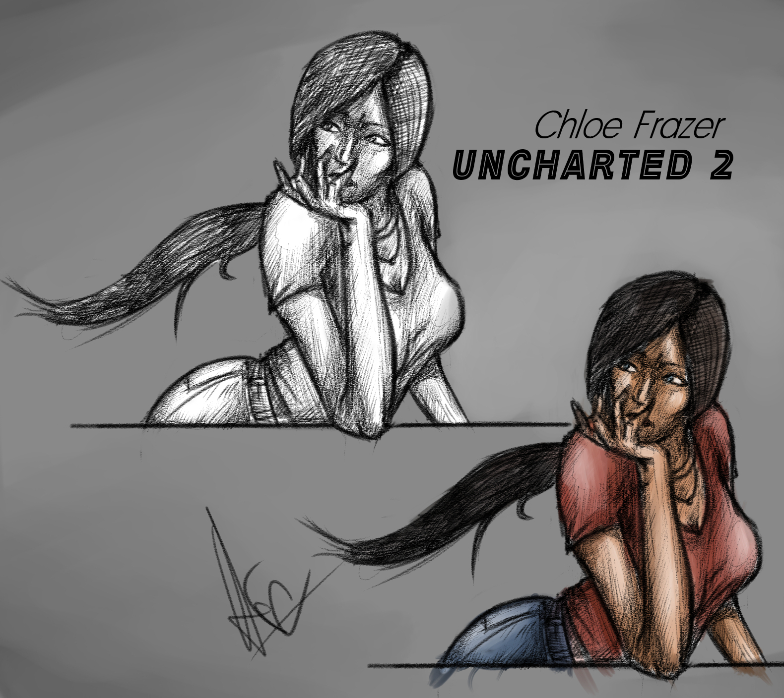 Quick sketch for character Chloe Frazer (Uncharted 2).
