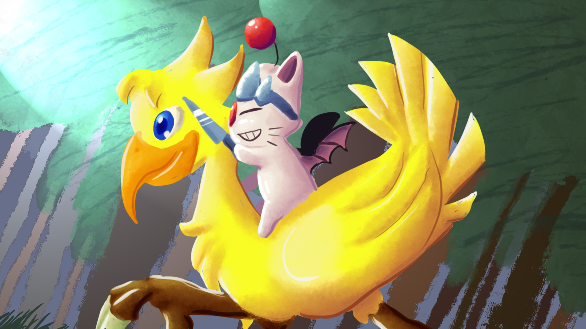 Rise and Grind: Chocobo and Moogle