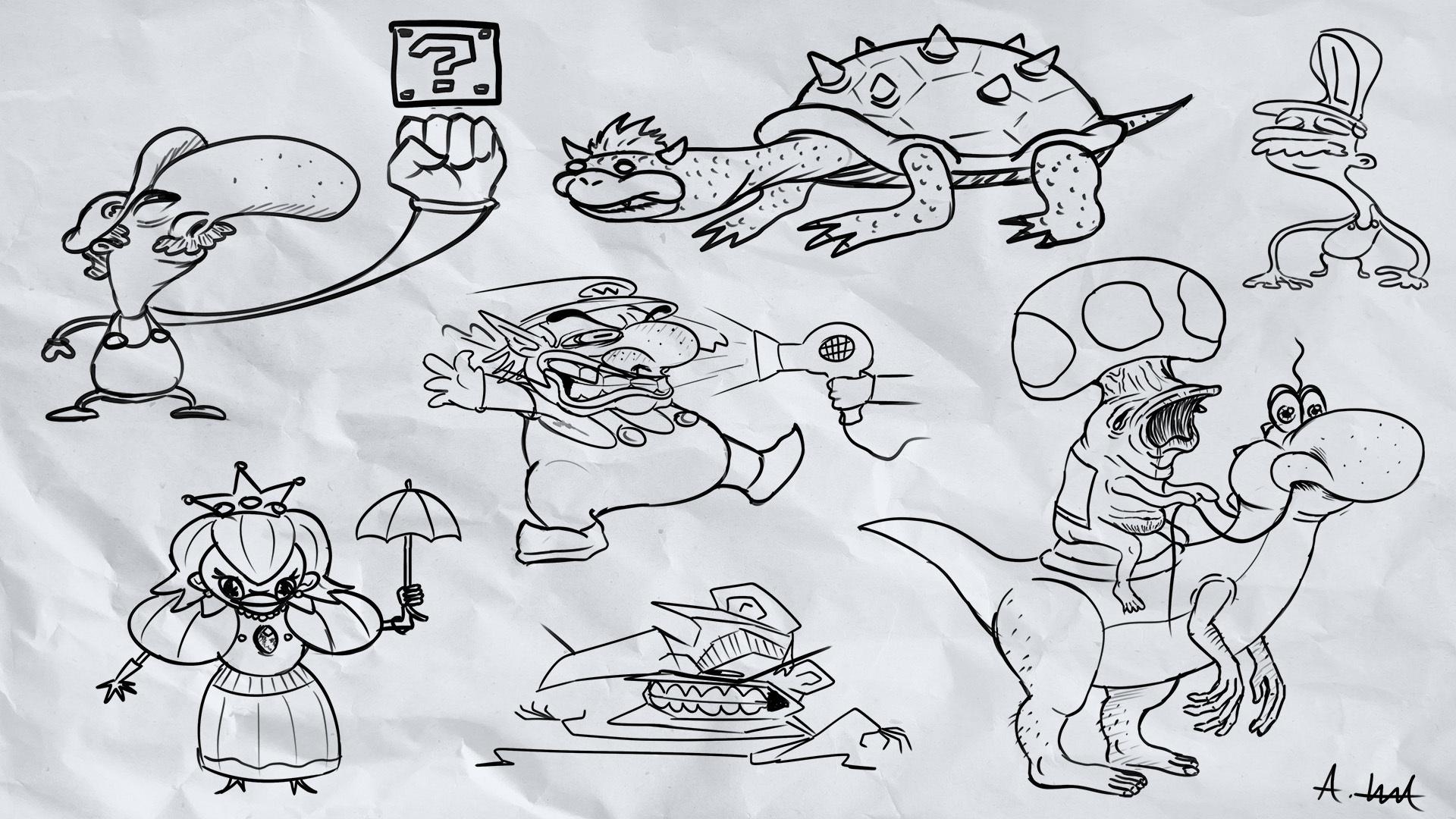 #slightlyartistic Mario Characters From Memory