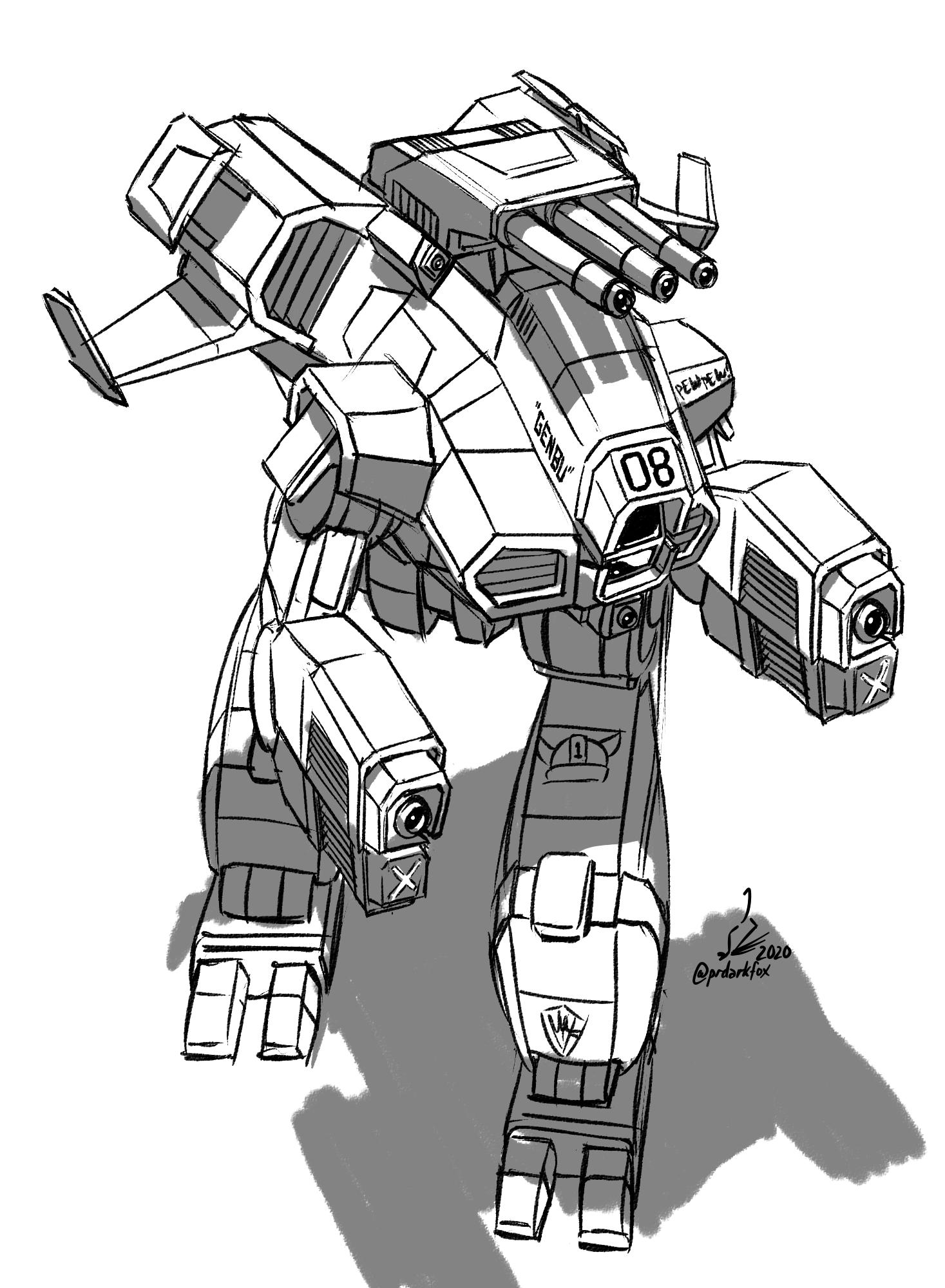 "Sketch Comm ProfPyro: ""Genbu"" Marauder II BattleMech"