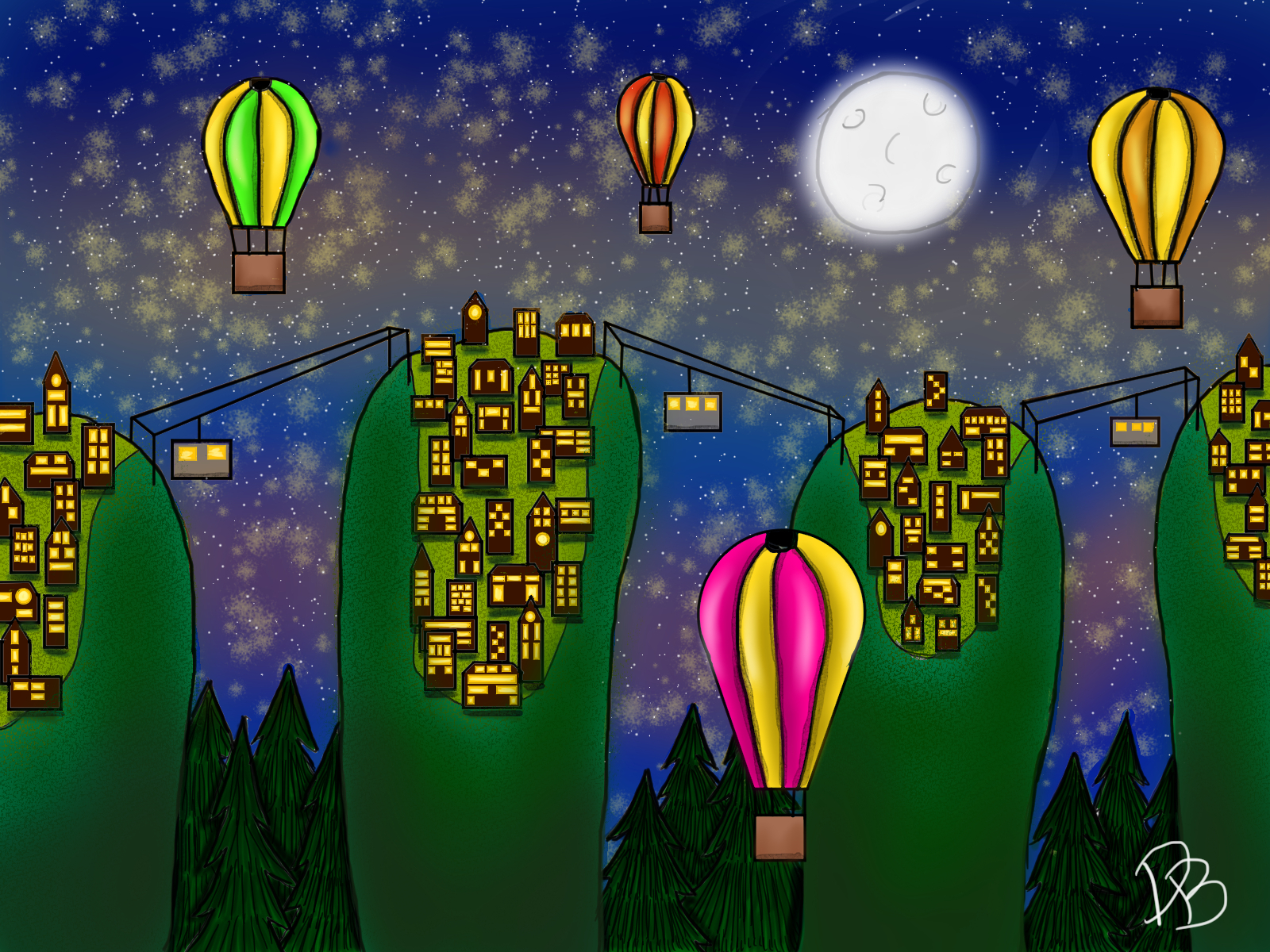 Towns in the nightsky