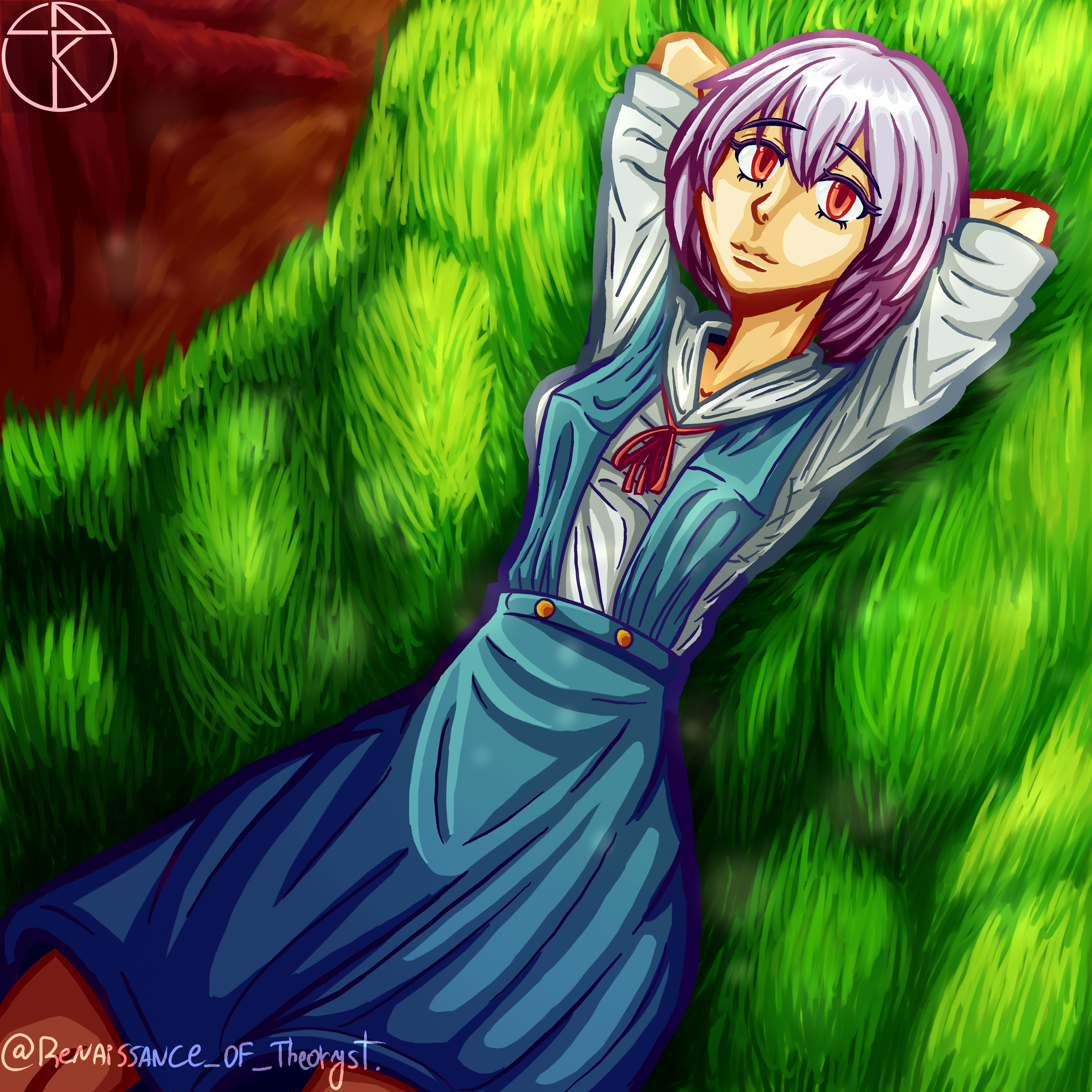 Rei Ayanami Resting in the grass