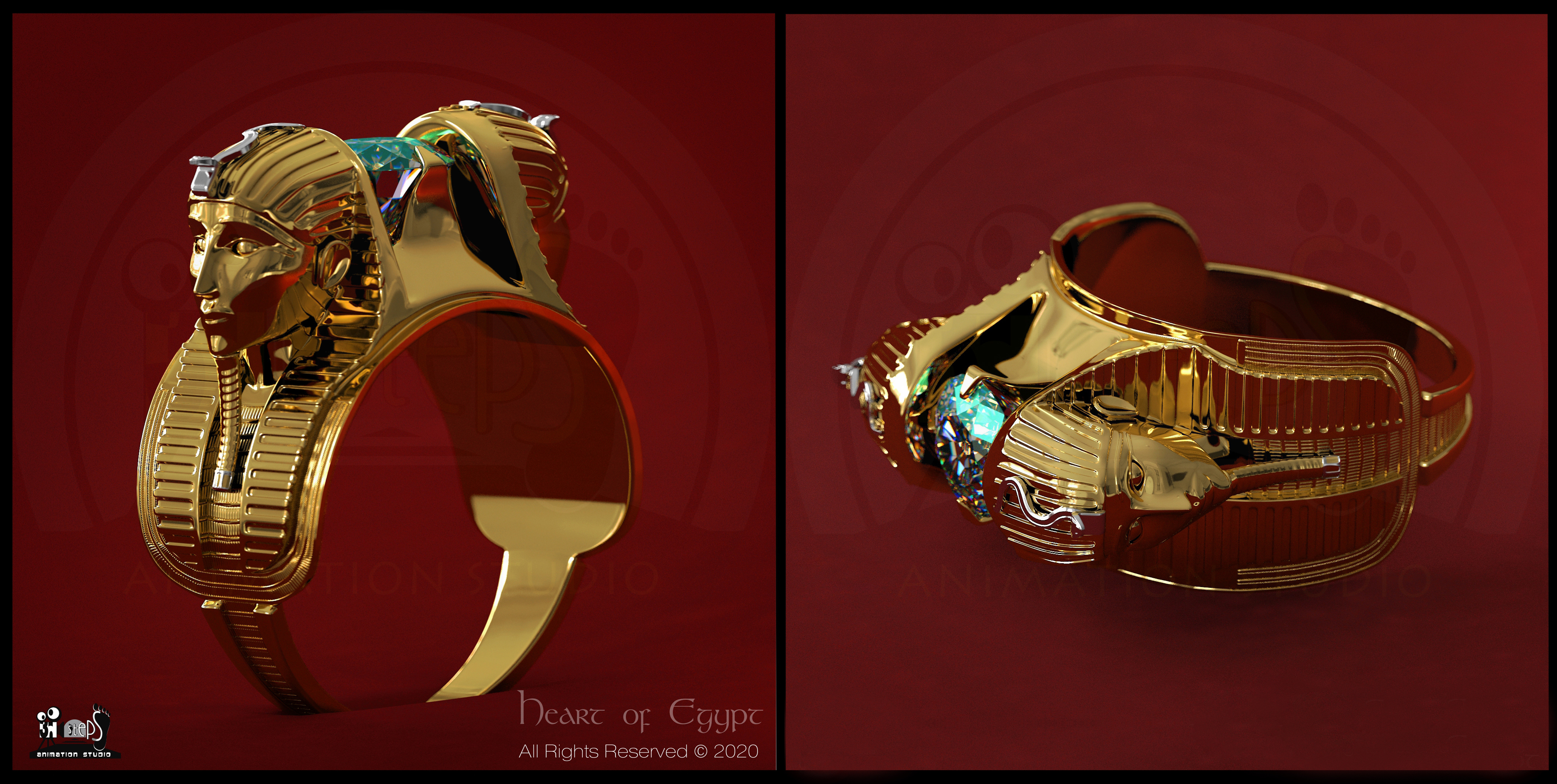"""My new 3D Ring visualization work """"Heart of Egypt"""" 3Ds Max, Vray"""
