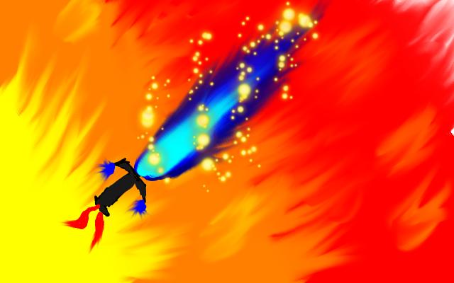 Blue flaming sword