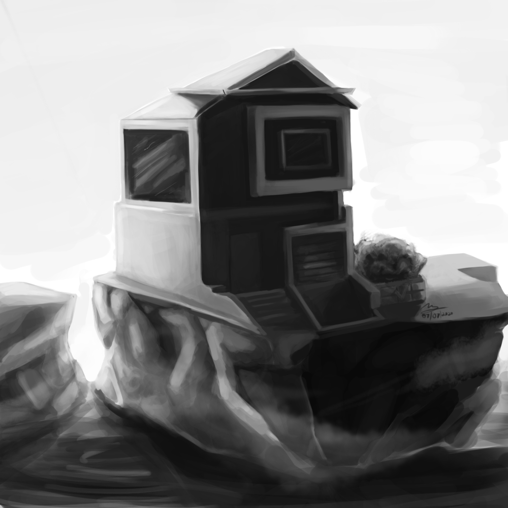 House on Rocks concept sketch