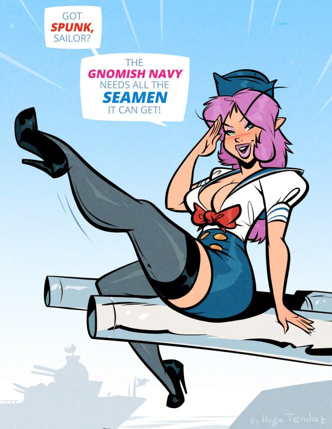 Plum the Gnome - Seamen - Cartoon PinUp Commission