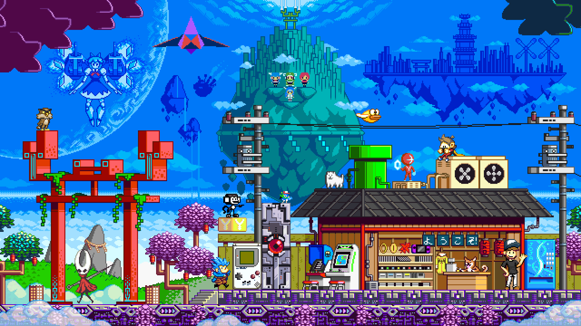Indie game characters hanging out