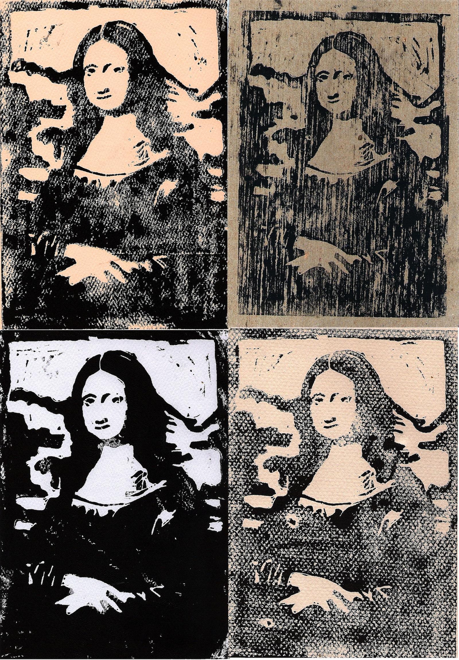 Mona Lisa Linocut
