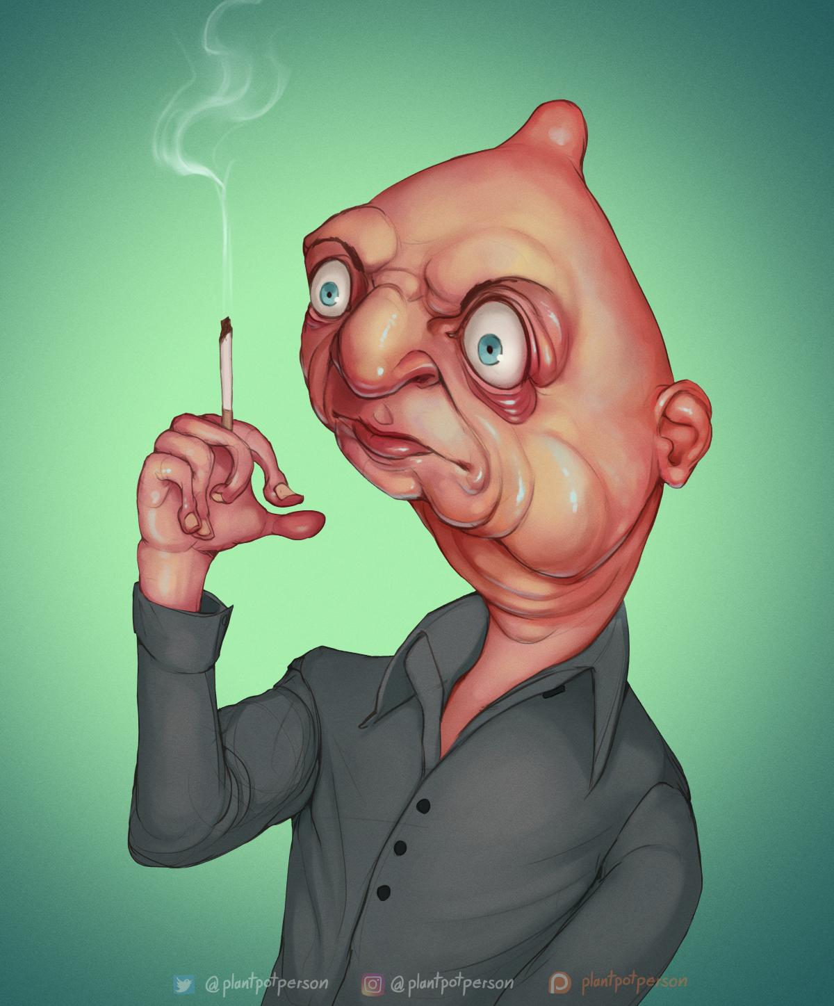 Man smoking a smigarette