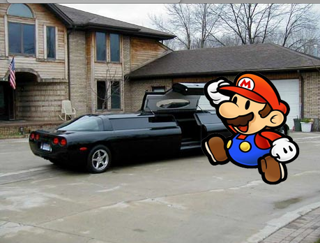 Mario goes to Bill Gates Car