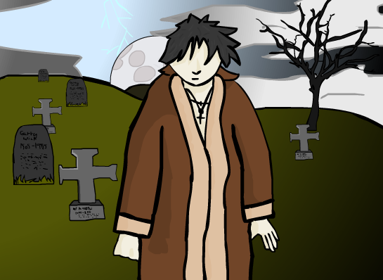 pale man in graveyard