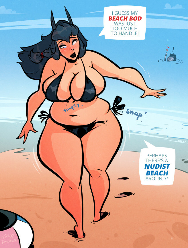 Tero - Beach Bod - Cartoon PinUp Commission