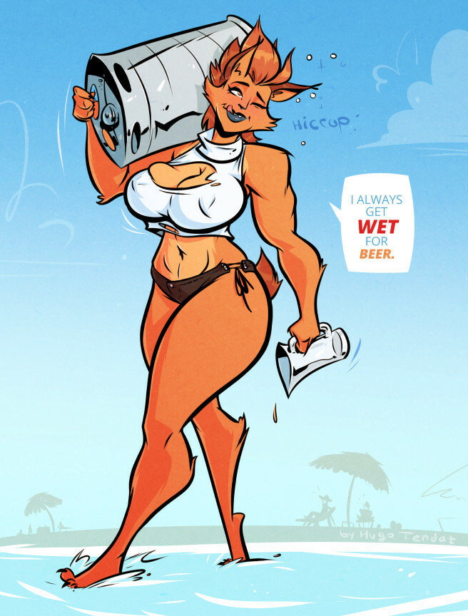 Ragna - Getting Wet - Cartoon PinUp Commission