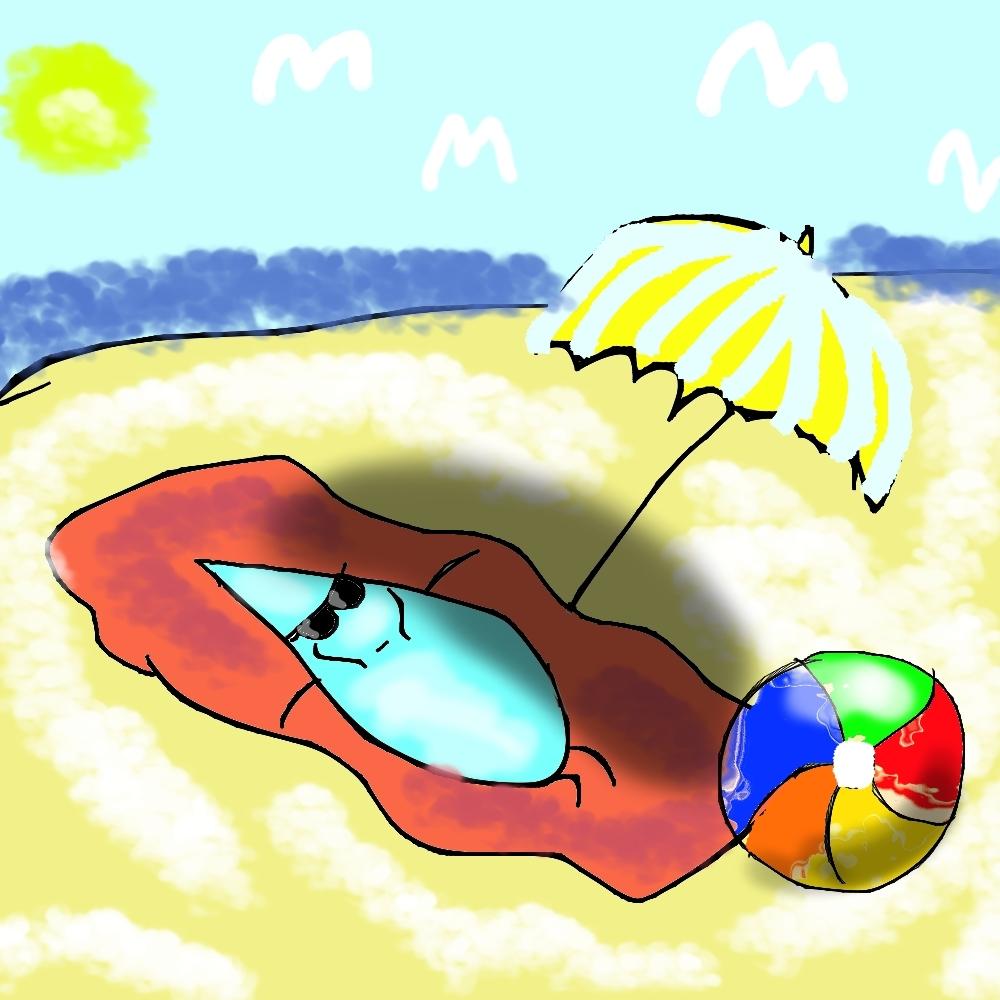 relaxing at beach drop