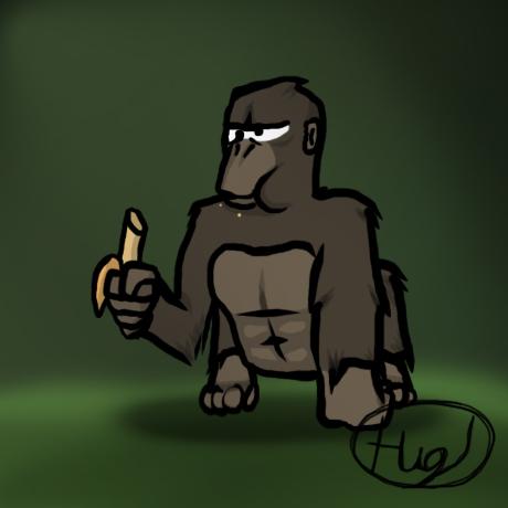 Gorilla likes banana